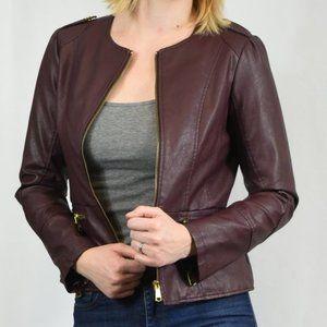 STEVE MADDEN Burgundy Faux Leather Jacket - M